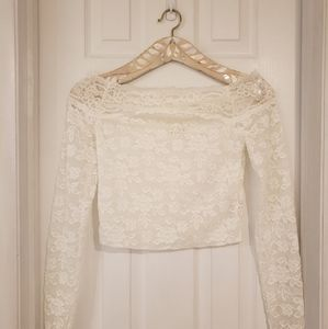 Free People Off-shoulder Lace Crop Top